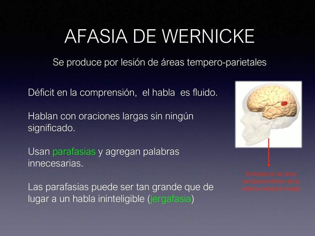 AFASIA DE WERNICKE Se produce por lesión de áre...