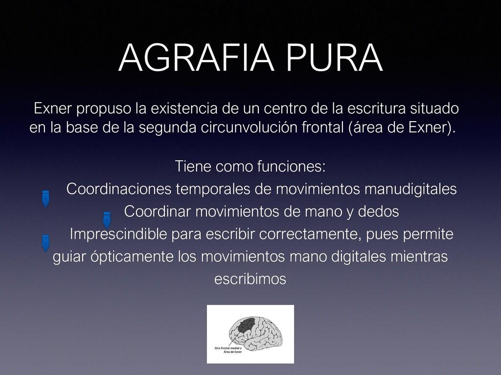 AGRAFIA PURA Exner propuso la existencia de un ...