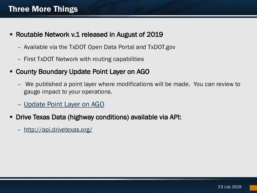 23 July 2019 Three More Things § Routable Netwo...