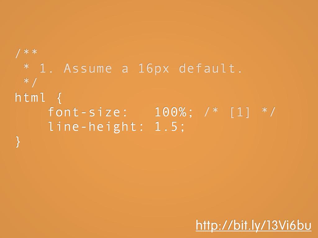 /** * 1. Assume a 16px default. */ html { font-...
