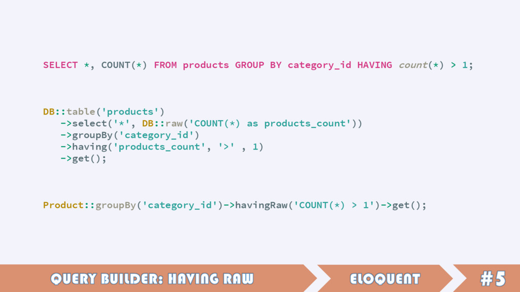 SELECT *, COUNT(*) FROM products GROUP BY categ...