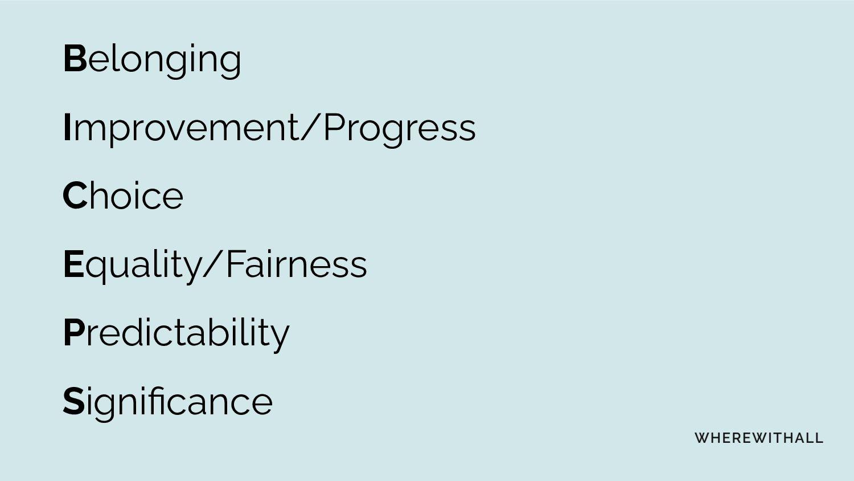 Belonging Improvement/Progress Choice Equality/...