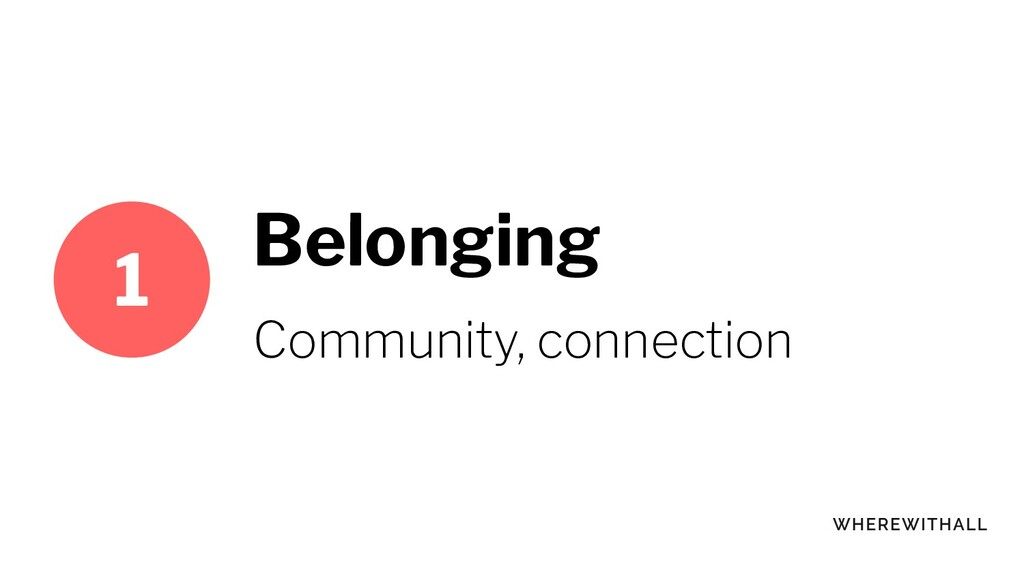 Belonging Community, connection 1