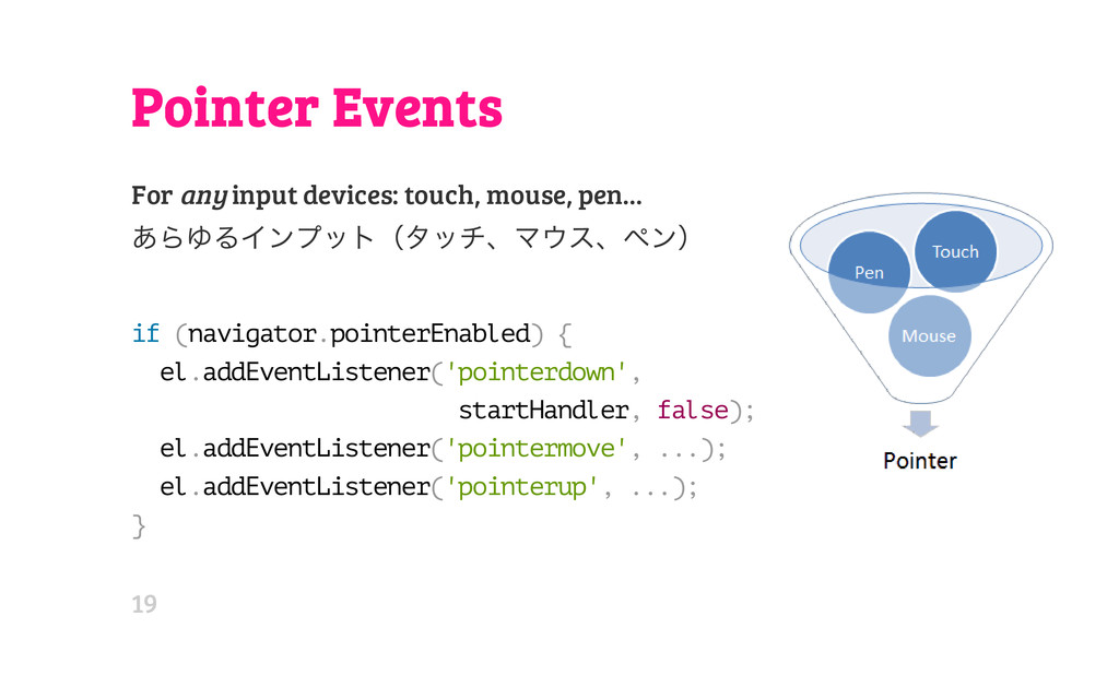 Pointer Events For any input devices: touch, mo...