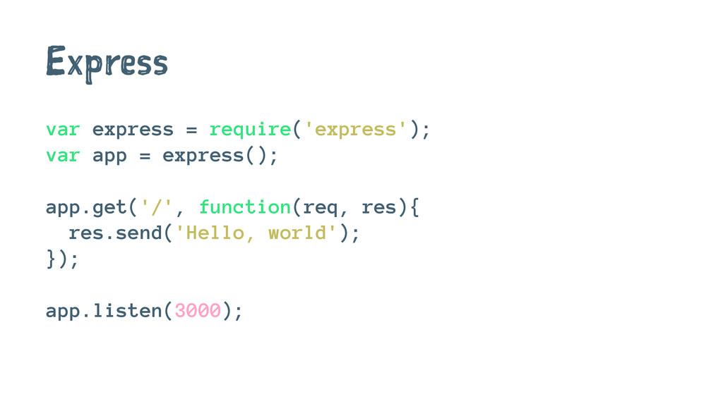 Express var express = require('express'); var a...