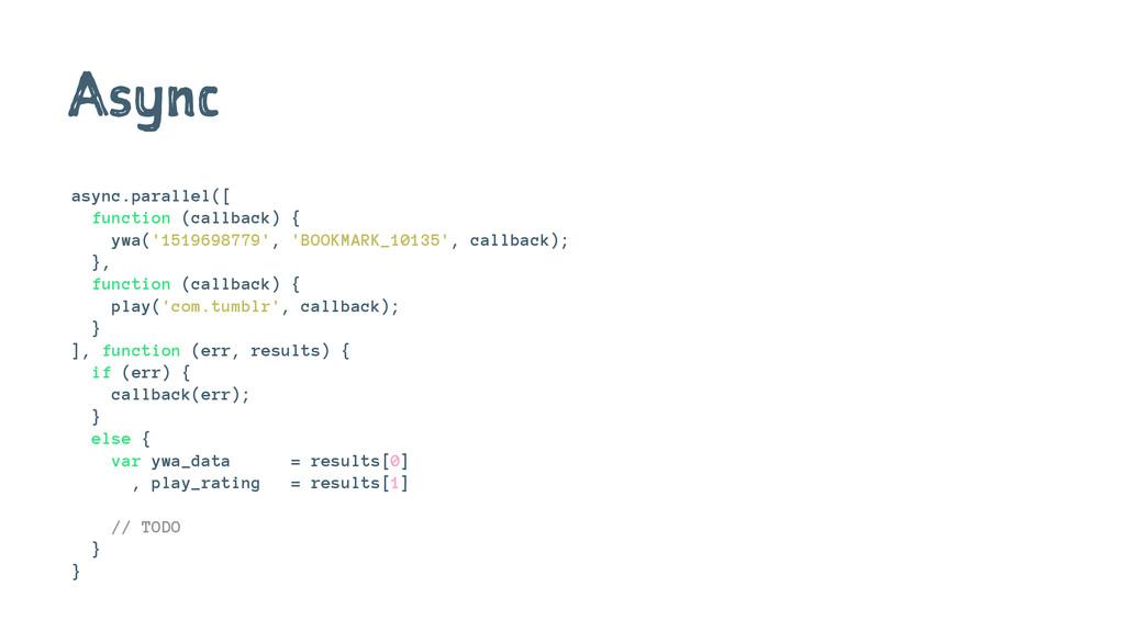 Async async.parallel([ function (callback) { yw...