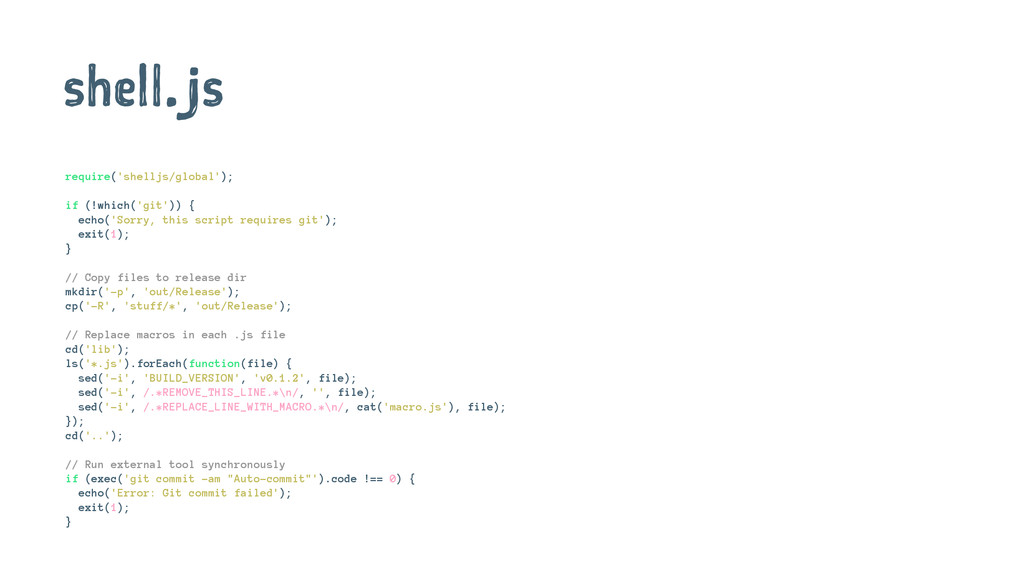 shell.js require('shelljs/global'); if (!which(...