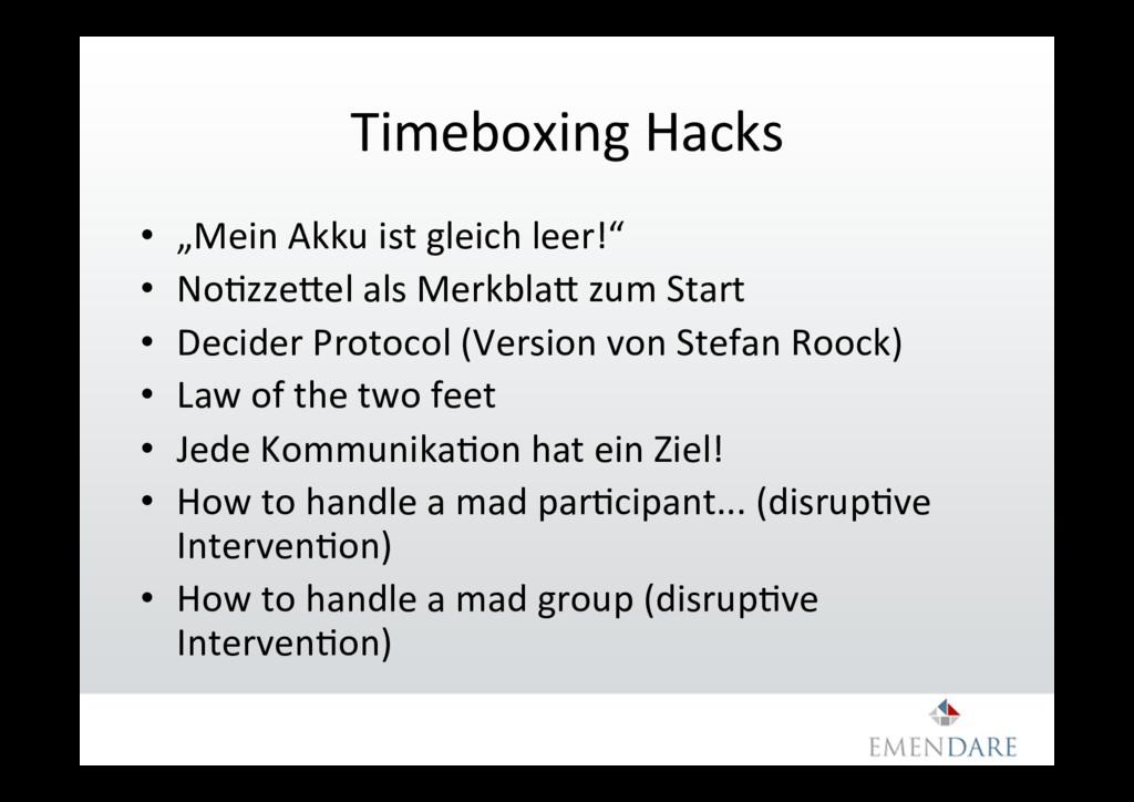 "Timeboxing Hacks • ""Mein Akku ist gleich leer!..."