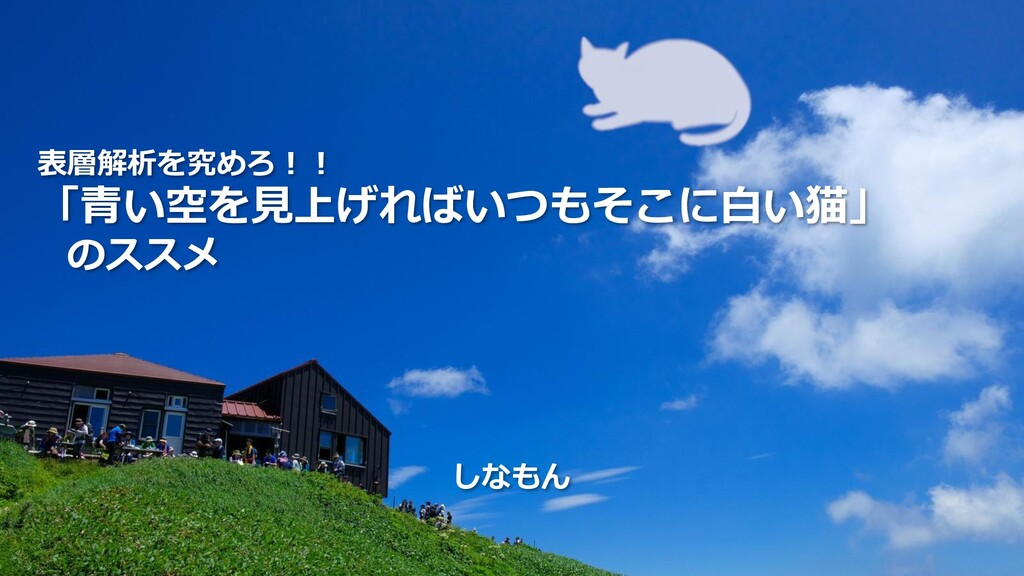 表層解析を究めろ!! 「青い空を見上げればいつもそこに白い猫」 のススメ しなもん