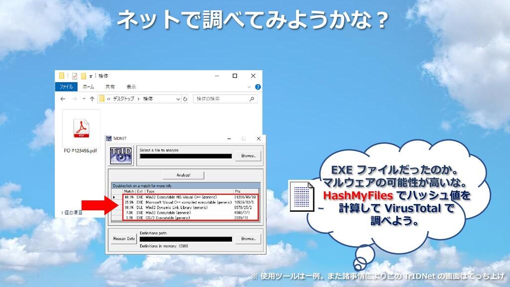 ネットで調べてみようかな? EXE ファイルだったのか。 マルウェアの可能性が高いな。 Has...
