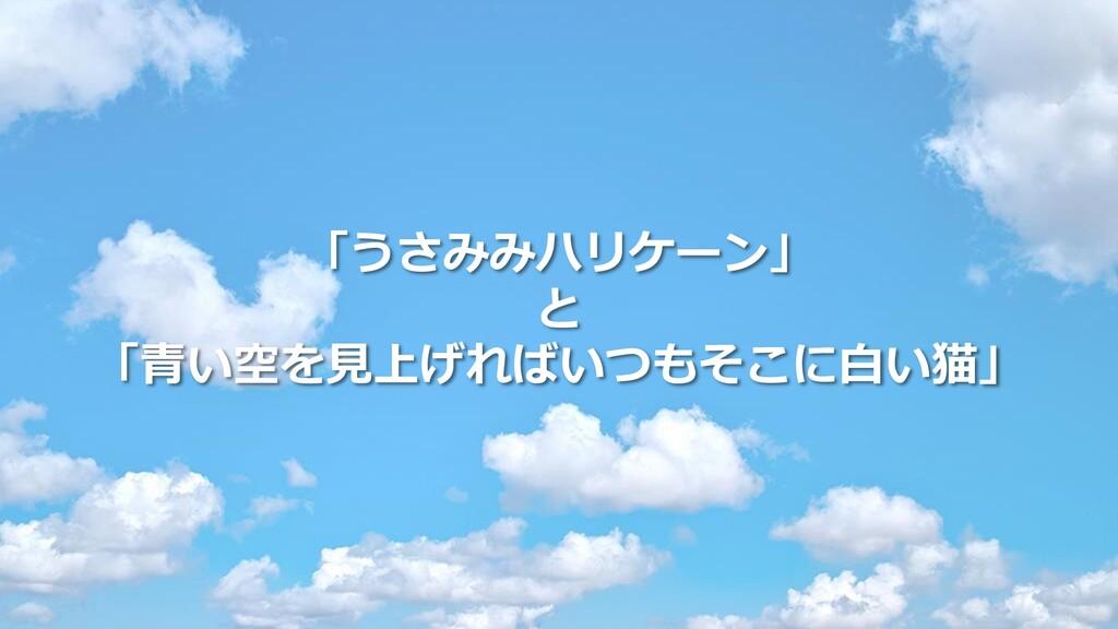 「うさみみハリケーン」 と 「青い空を見上げればいつもそこに白い猫」