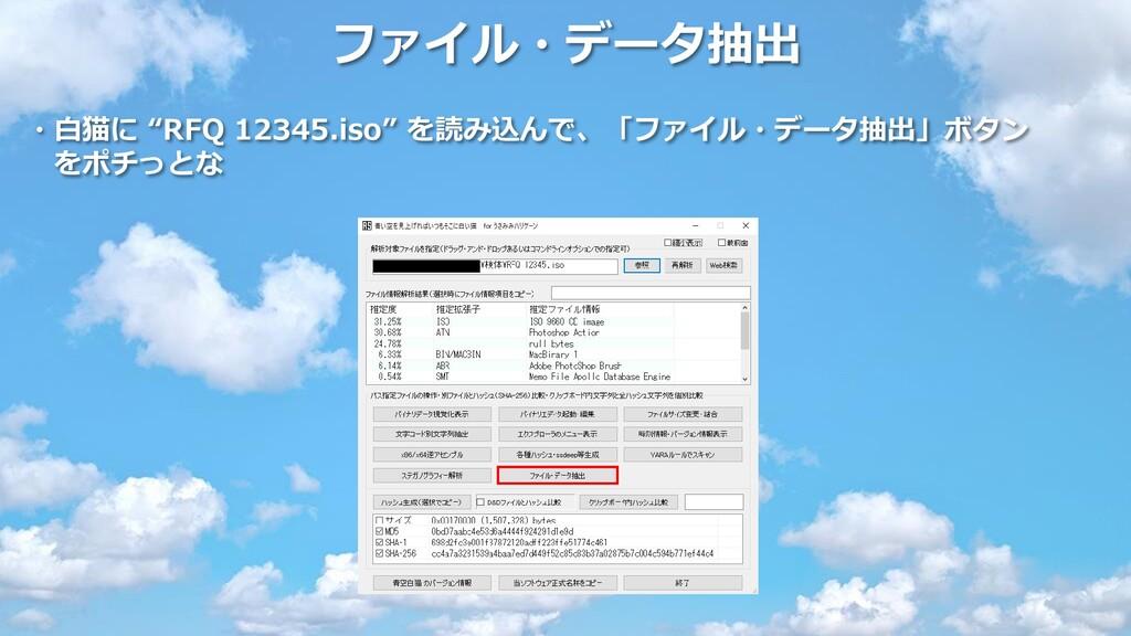 """ファイル・データ抽出 ・白猫に """"RFQ 12345.iso"""" を読み込んで、「ファイル・デー..."""