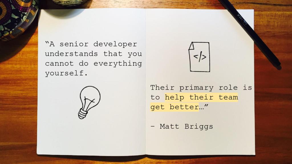 """A senior developer understands that you cannot..."