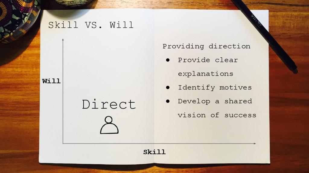 Skill VS. Will Skill Will Providing direction ●...