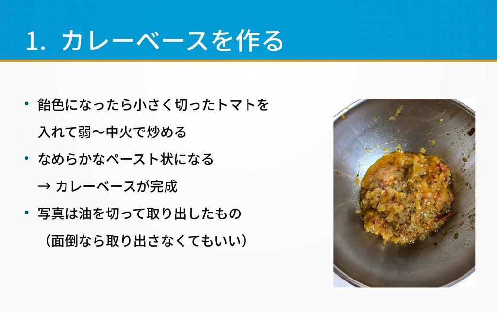 1. カレーベースを作る ● 飴色になったら小さく切ったトマトを 入れて弱〜中火で炒める ● ...