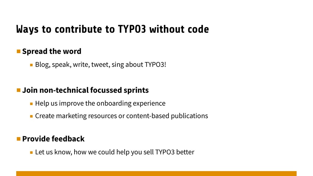 Ways to contribute to TYPO3 without code ▪︎Spre...