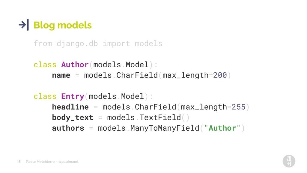 Paolo Melchiorre ~ @pauloxnet 15 Blog models fr...