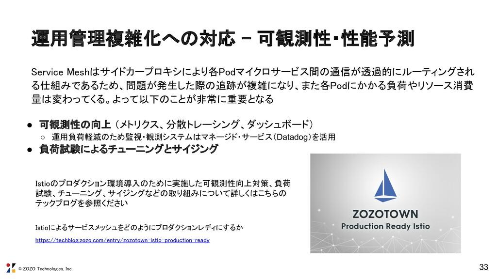 © ZOZO Technologies, Inc. 運用管理複雑化への対応 - 可観測性・性能...