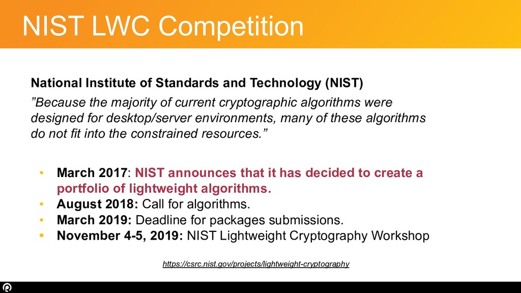 NIST LWC Competition National Institute of Stan...