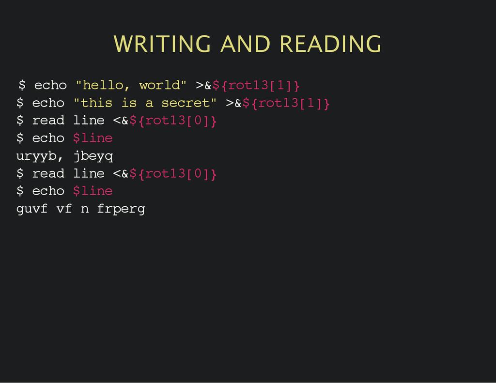 """WRITING AND READING $ e c h o """" h e l l o , w o..."""