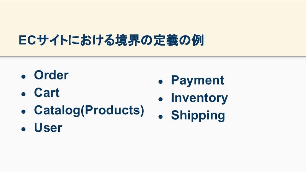 ECサイトにおける境界の定義の例 ● Order ● Cart ● Catalog(Produ...
