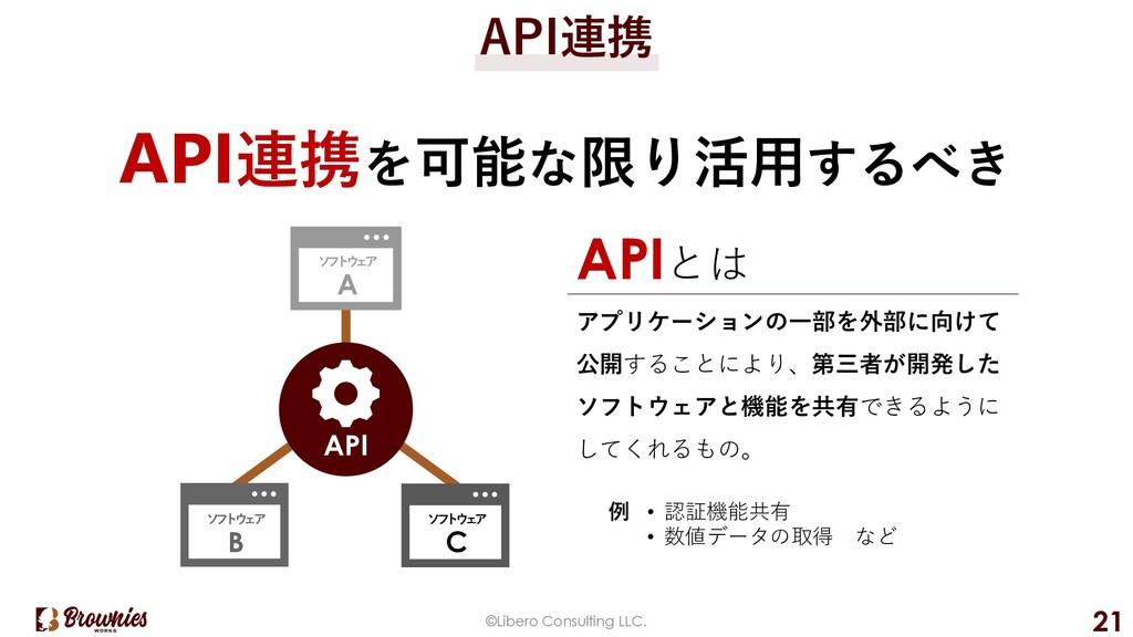 ©Libero Consulting LLC. 21 API連携 API連携を可能な限り活⽤す...