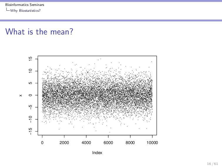 Bioinformatics Seminars Why Biostatistics? What...