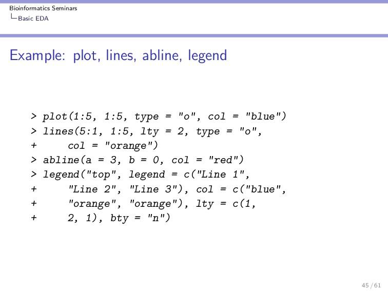 Bioinformatics Seminars Basic EDA Example: plot...