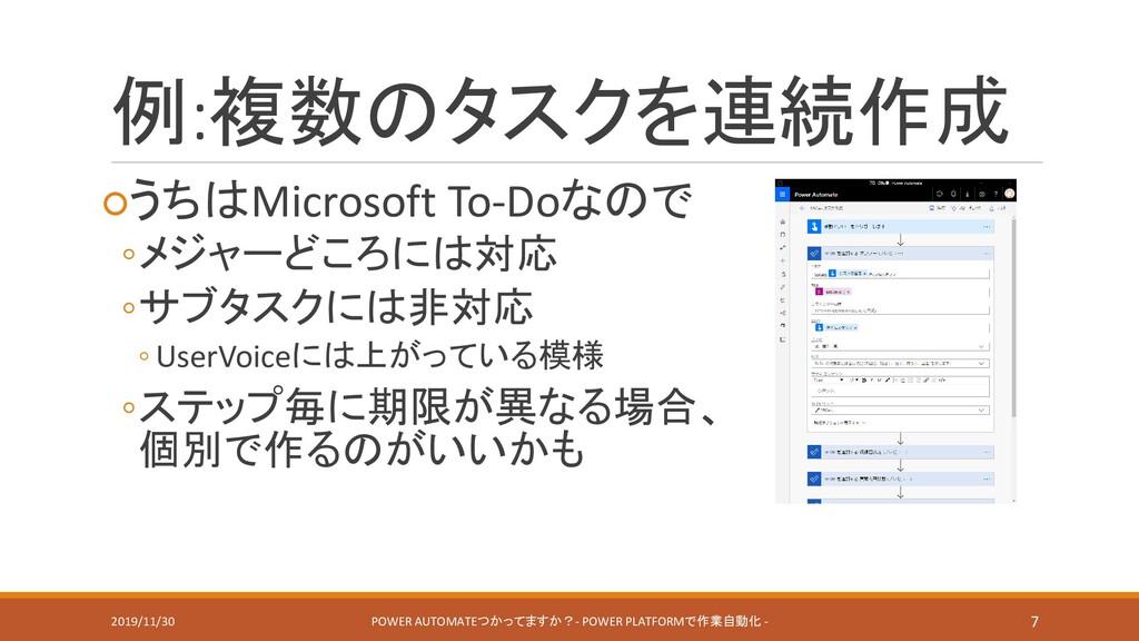 例:複数のタスクを連続作成 ○うちはMicrosoft To-Doなので ◦メジャーどころには...