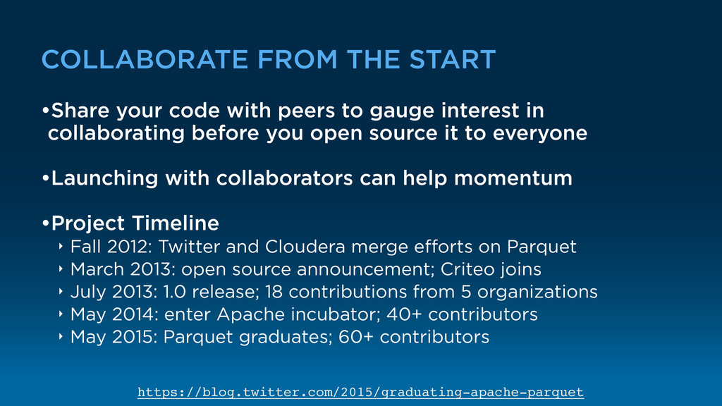 COLLABORATE FROM THE START •Share your code wit...