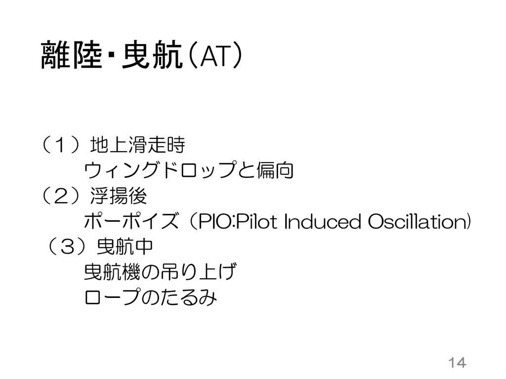 離陸・曳航(AT) (1)地上滑走時 ウィングドロップと偏向 (2)浮揚後 ポーポイズ(PIO...