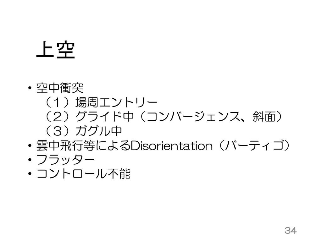 上空 • 空中衝突 (1)場周エントリー (2)グライド中(コンバージェンス、斜面) (3)ガ...
