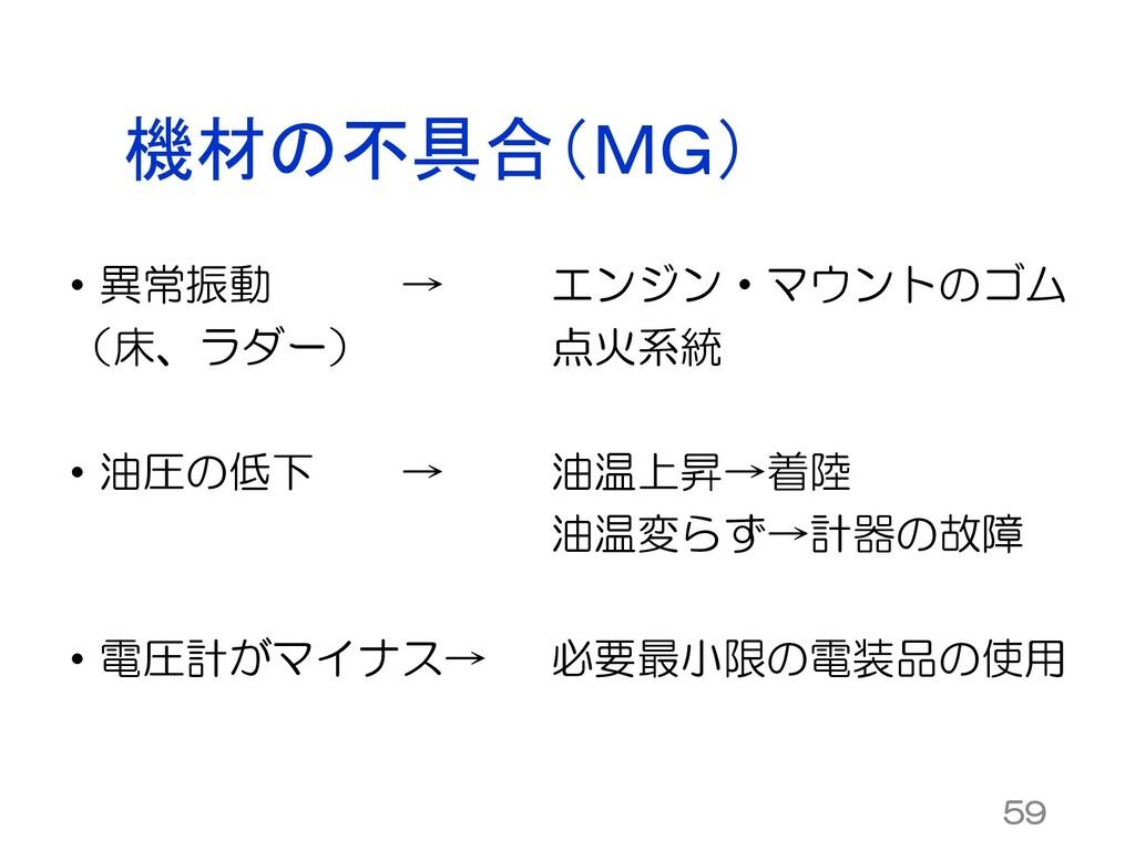 機材の不具合(MG) • 異常振動 → (床、ラダー) • 油圧の低下 → • 電圧計がマイナ...
