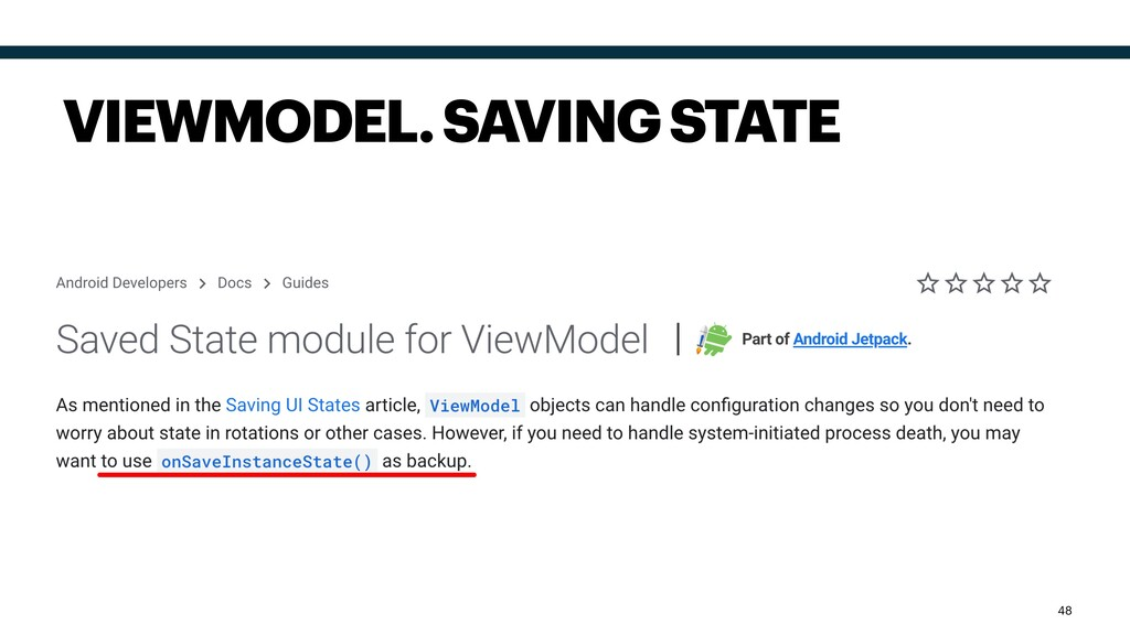 VIEWMODEL. SAVING STATE 48