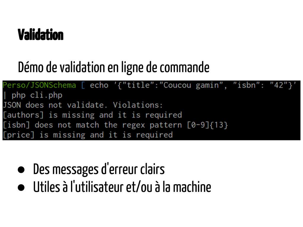 Validation Démo de validation en ligne de comma...
