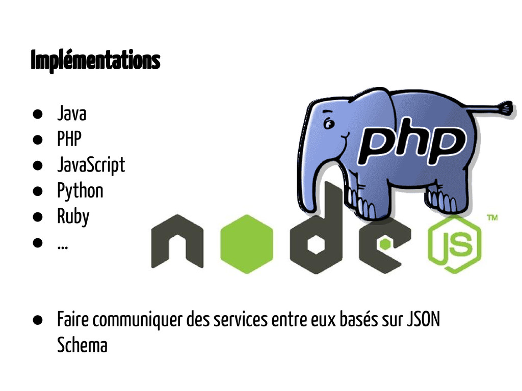 Implémentations ● Java ● PHP ● JavaScript ● Pyt...