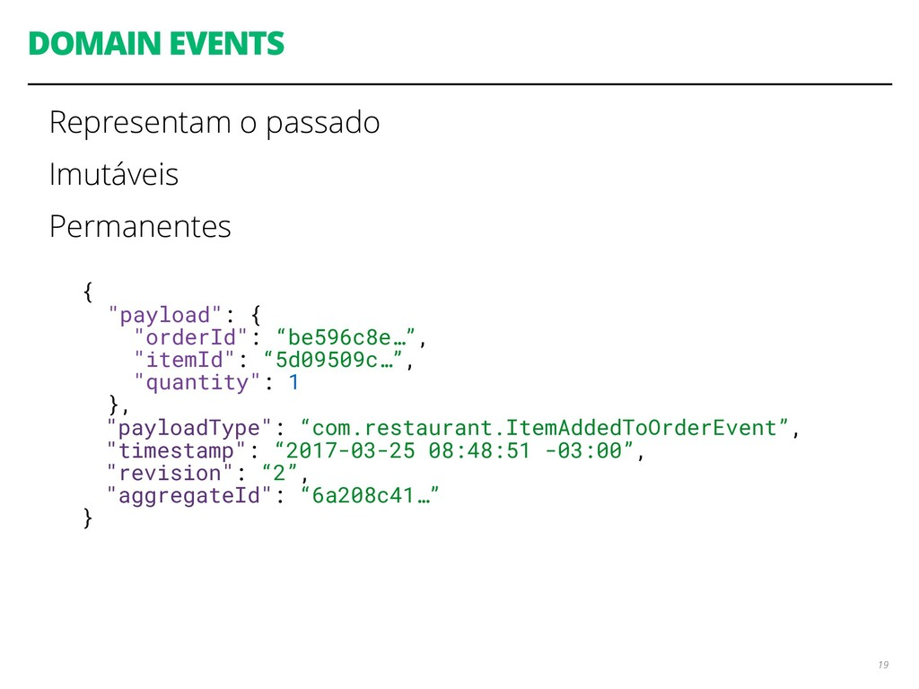 """DOMAIN EVENTS 19 { """"payload"""": { """"orderId"""": """"be5..."""