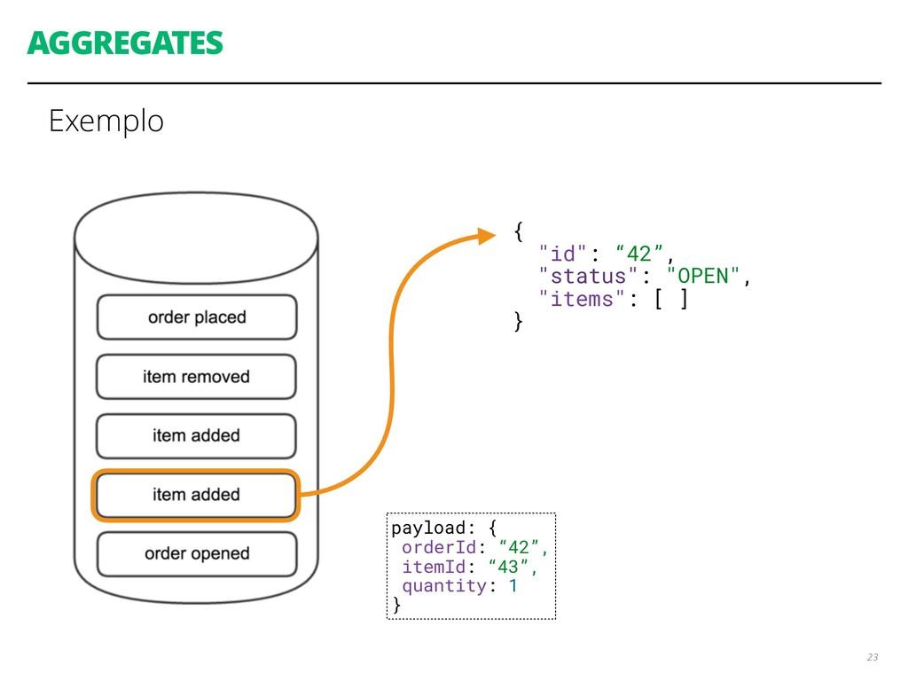 "AGGREGATES Exemplo 23 { ""id"": ""42"", ""status"": ""..."
