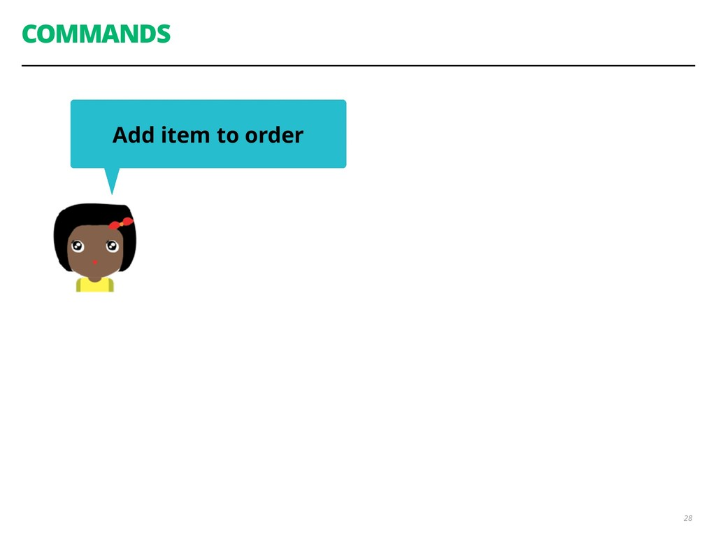COMMANDS 28 Add item to order