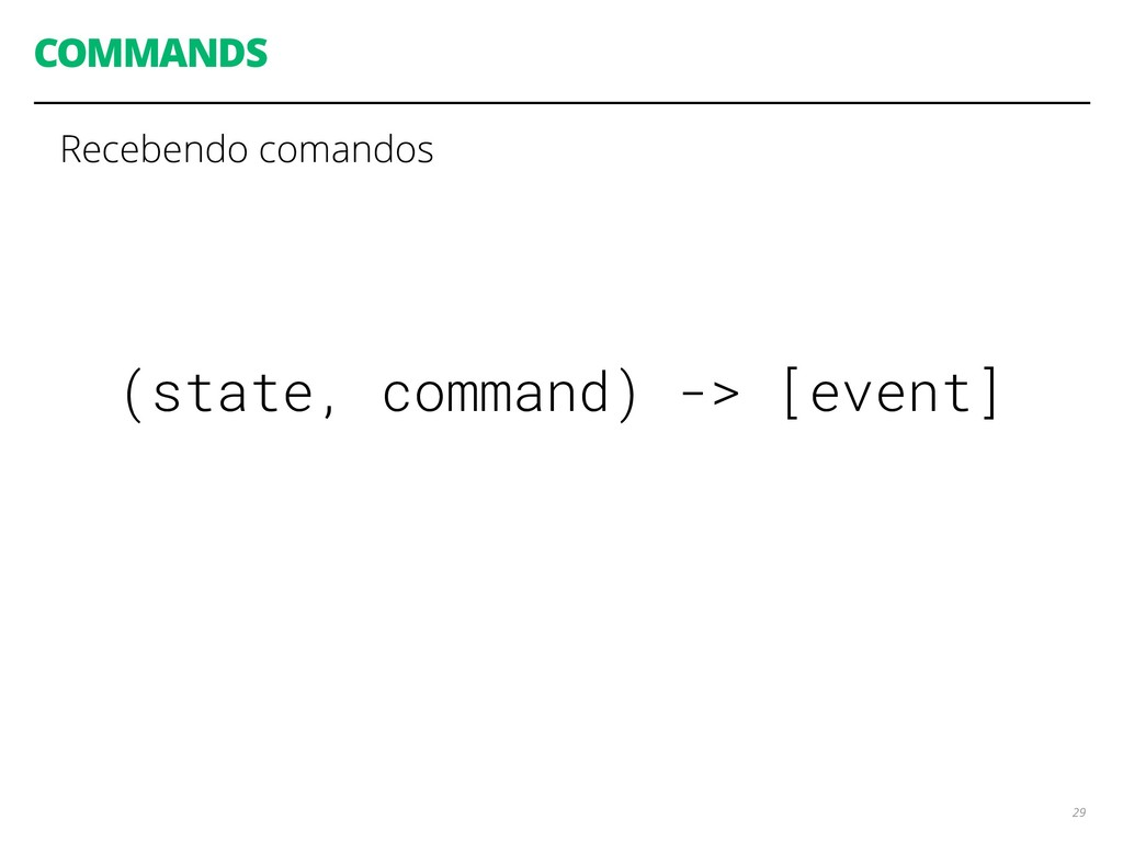 COMMANDS 29 (state, command) -> [event] Receben...