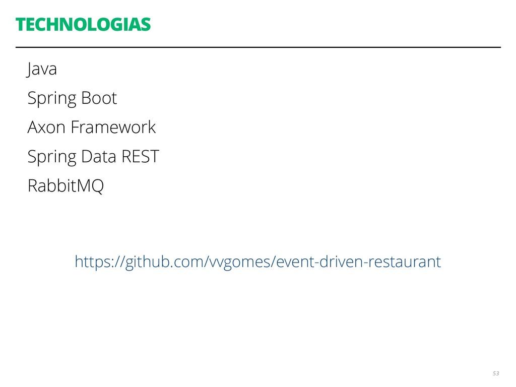 TECHNOLOGIAS Java Spring Boot Axon Framework Sp...
