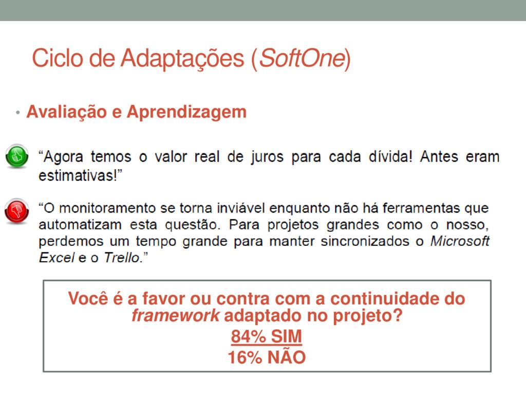 Ciclo de Adaptações (SoftOne) • Avaliação e Apr...