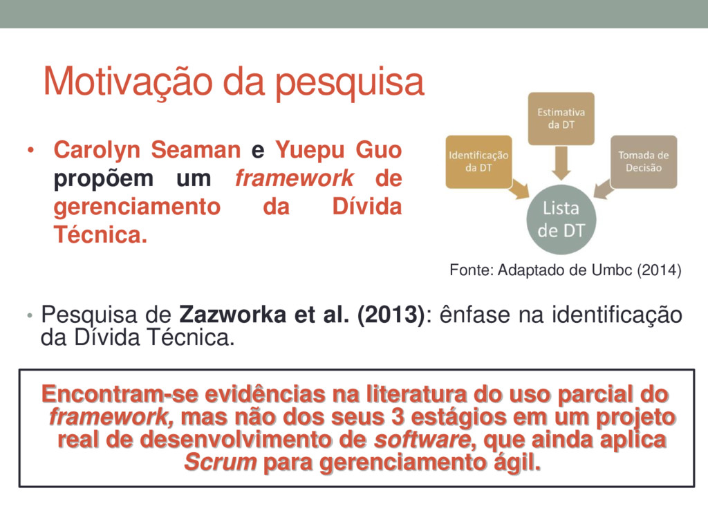 Motivação da pesquisa • Pesquisa de Zazworka et...
