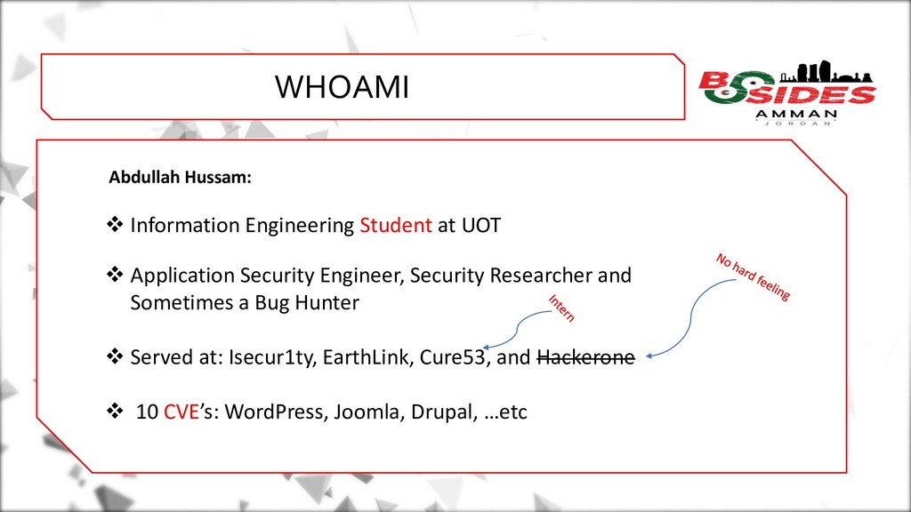WHO AMI i WHOAMI Abdullah Hussam: ❖ Information...