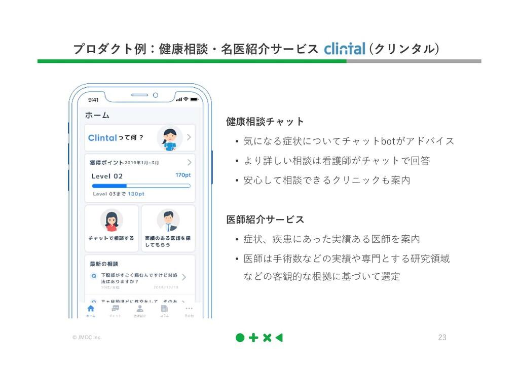 © JMDC Inc. 23 プロダクト例:健康相談・名医紹介サービス (クリンタル) 健康相...