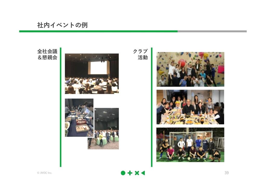 © JMDC Inc. 39 社内イベントの例 全社会議 &懇親会 クラブ 活動