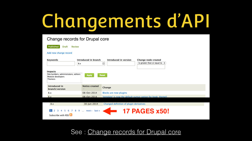 Changements d'API See : Change records for Drup...