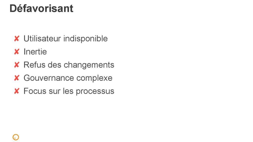Défavorisant ✘ Utilisateur indisponible ✘ Inert...