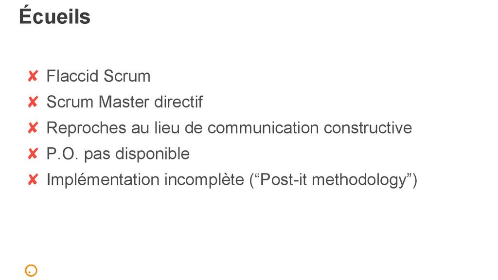 Écueils ✘ Flaccid Scrum ✘ Scrum Master directif...