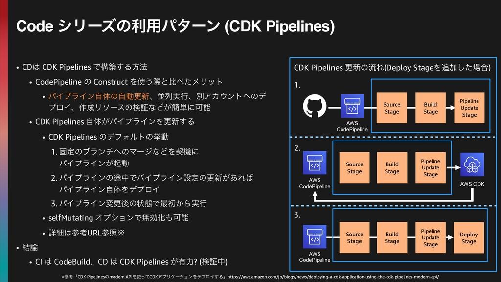 • CD CDK Pipelines Ͱߏங͢Δํ๏ • CodePipeline ͷ Co...